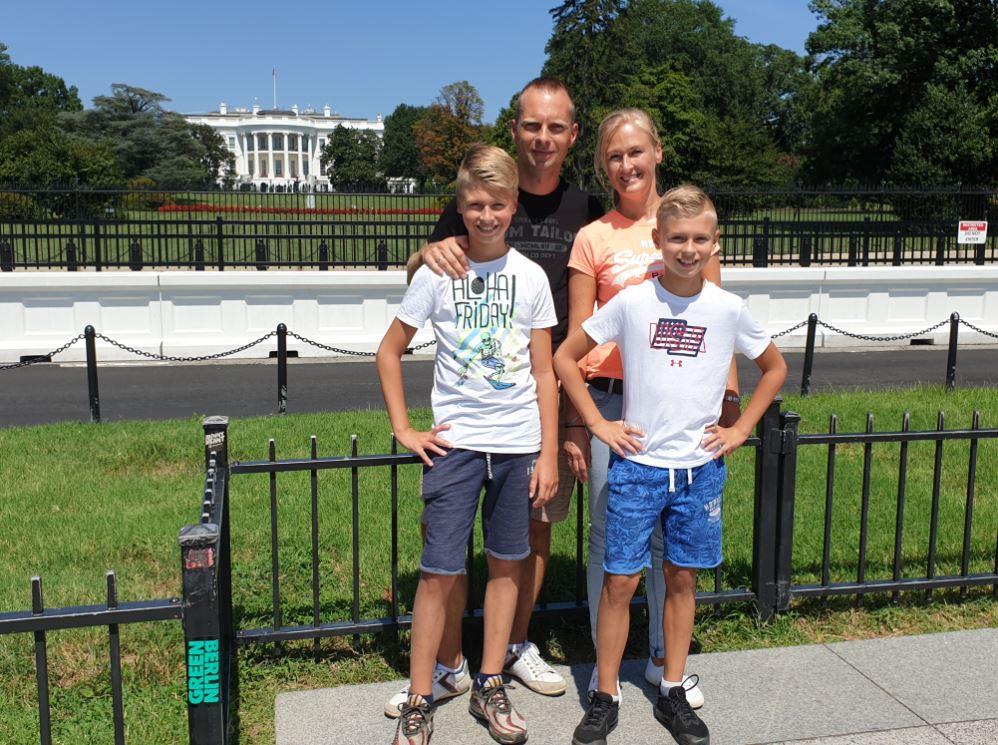 Ellen met haar gezin in Amerika
